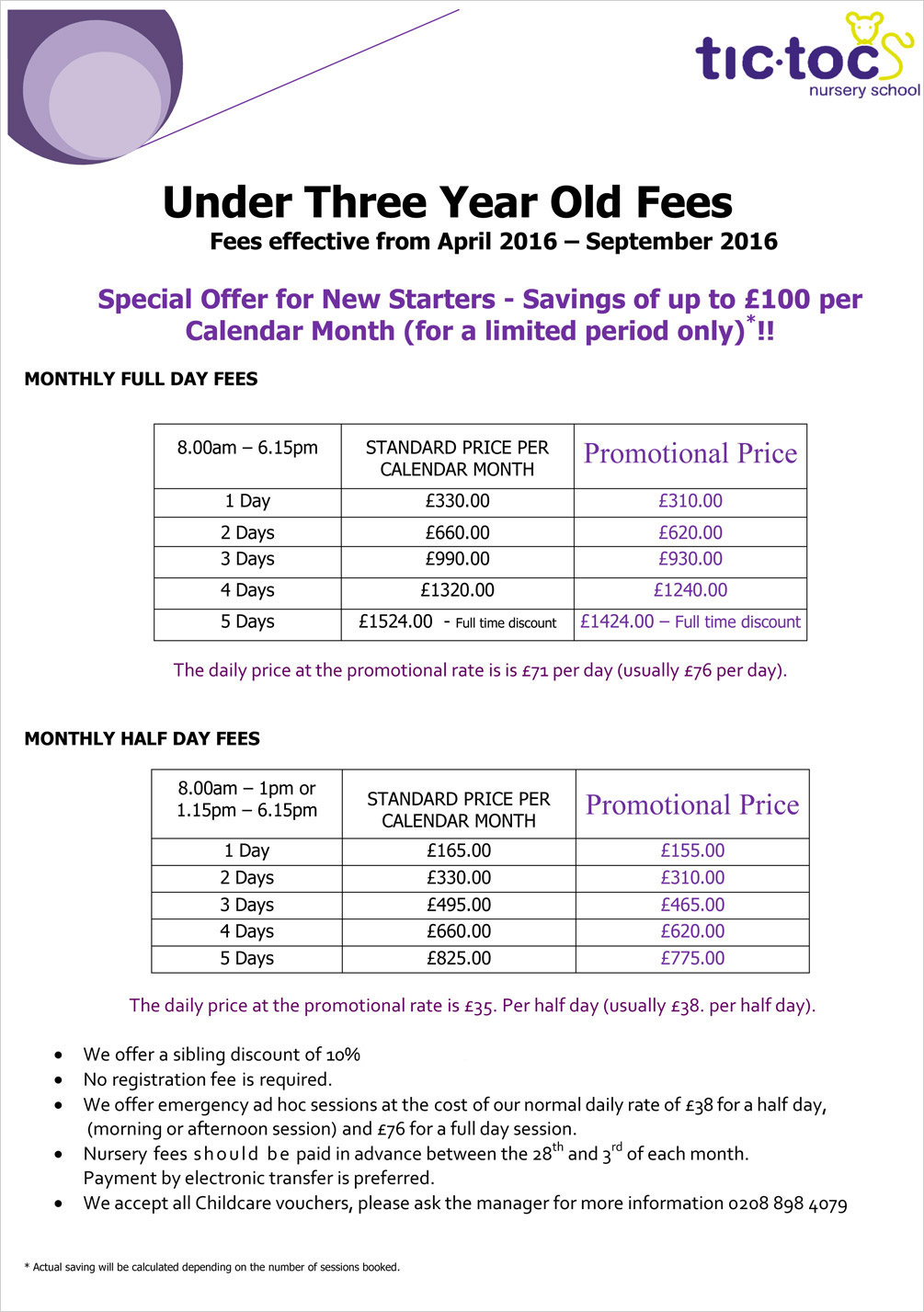 Tic Toc Nursery School - Under three year old fees April 2016 – Sept 2016