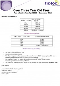 Tic Toc Nursery School - Over three year old fees April 2016 – September 2016