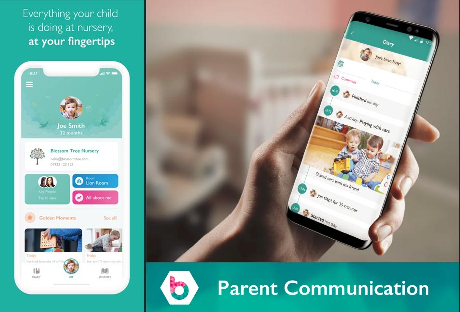 The Blossom phone app allows parents to track their child's learning, development, activities & preferences at Tic Toc Nursery in Twickenham.