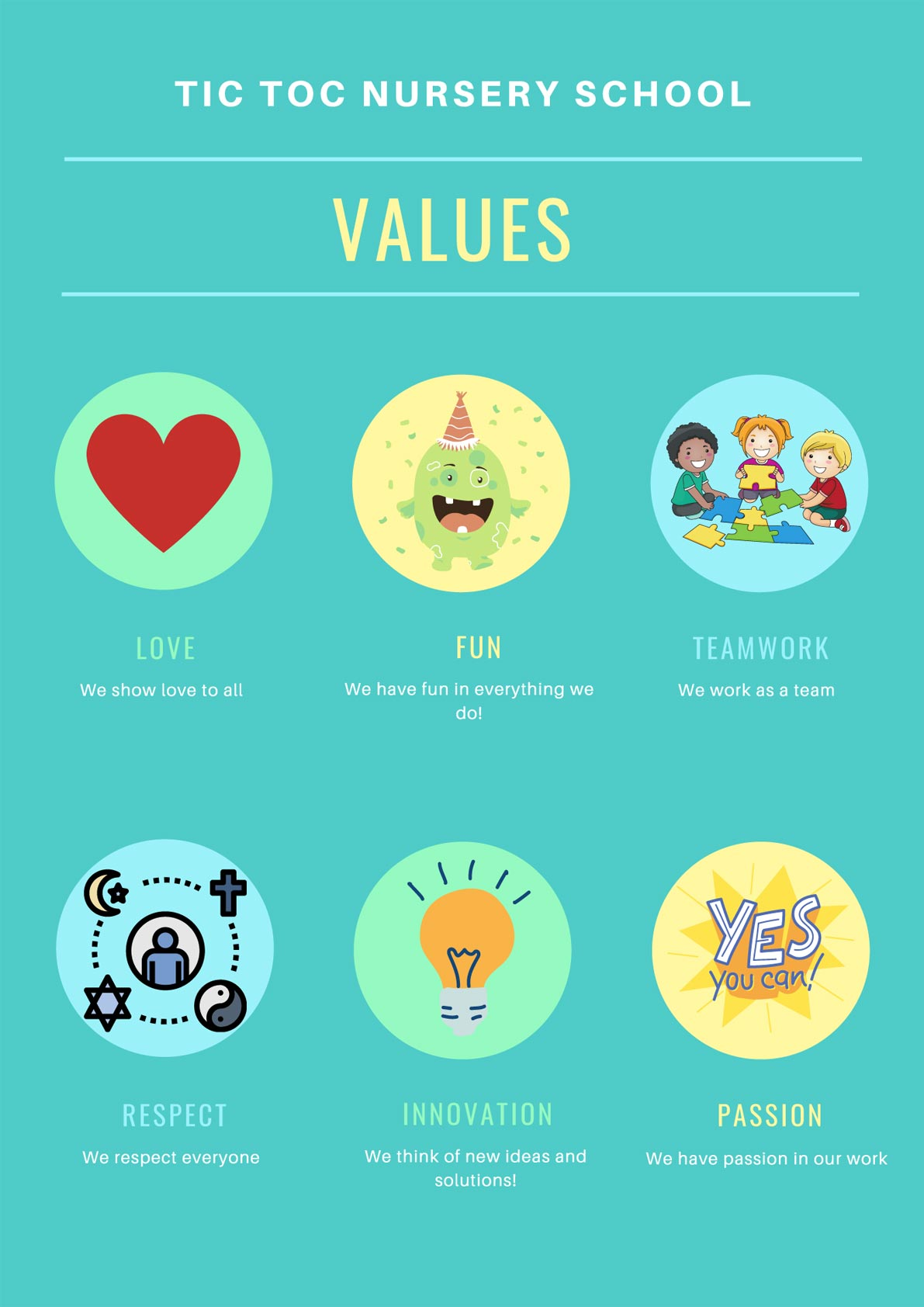 Tic Toc Nursery School's core values poster. We encourage love, respect, innovation, teamwork, passion & fun at the nursery.